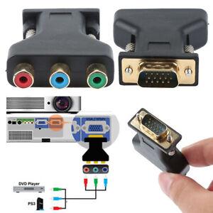 15-Pin VGA Component Video Jack Adapter To RCA RGB Video Female Converter Plug K