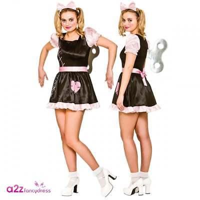 Ladies Halloween Wind Up Broken Rag Doll Creepy Fancy Dress Costume Outfit + Key
