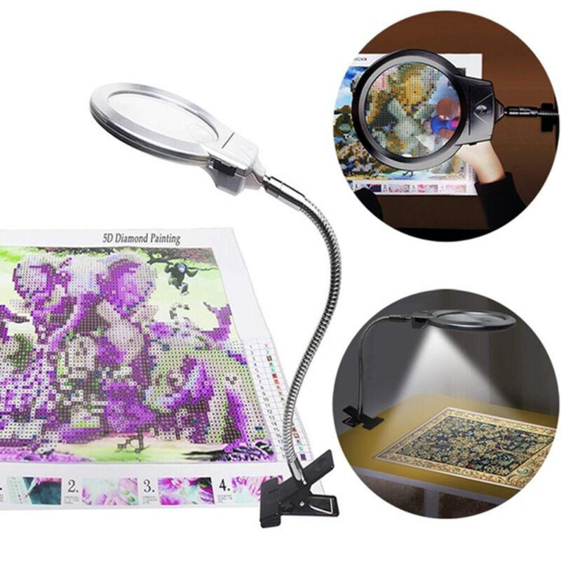 LED Lighting Adjustable Magnifier with Stand Clip-on desk light Hose magnifier