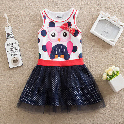 Peppiges Eulen Mädchen Kleid Eule Punkte Gr . 104 110 116 122