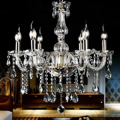 Vintage Crystal Chandelier Ceiling Lamp Pendent Light Glass Beads Candle -