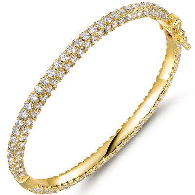 Sevil 18K Gold Plated 3-Row Eternity Bangle Bracelet W/ Swarovski Elements