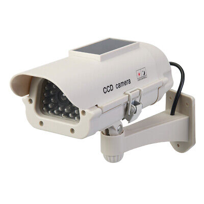Solar Powered Dummy Cctv Camera Led Light -wall Mount Security Theft Deterrent