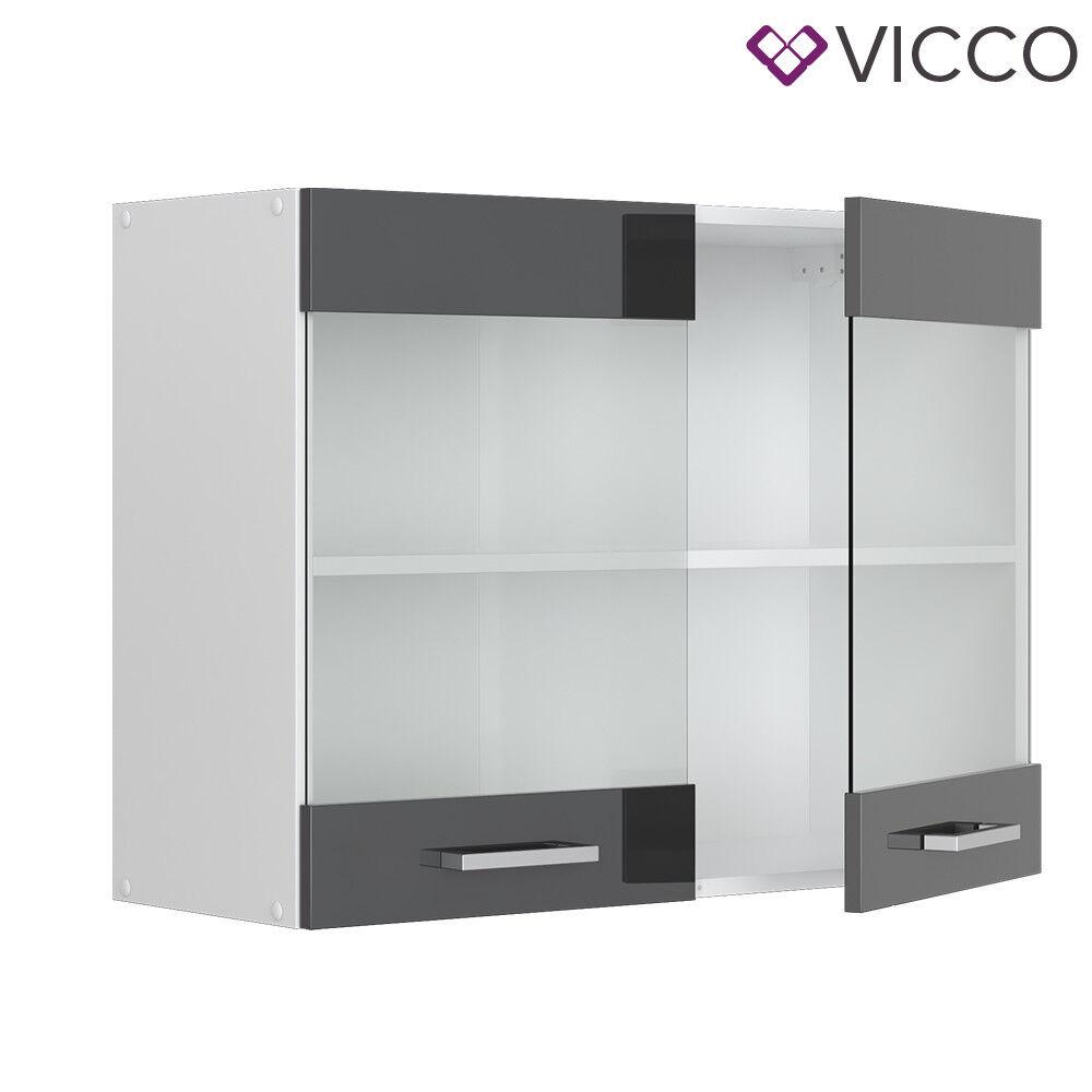 VICCO Küchenschrank Hängeschrank Unterschrank Küchenzeile R-Line Hängeglasschrank 80 cm anthrazit