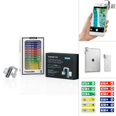 Supereyes Biological Microscope For Smart Phones Iphone With Sample Slides Kit