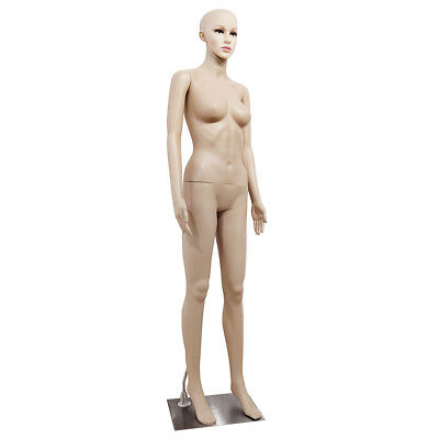 Female Mannequin Plastic Display Full Body Head Turns Dress W Iron Base Akimbo