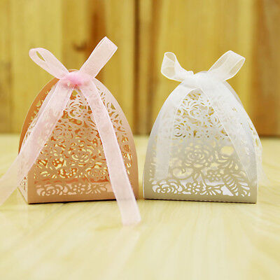 50 PCs Lace Flower Candy Box Classic Wrapping Supplies Wedding Gifts for Guest Classic Candy Gift Box