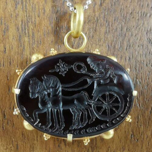 Antique Sassanian Carnelian Solid Gold Pendant Cameo Sasanian King Carved #304