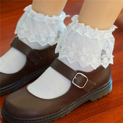 White Lace Trim Ankle Socks (Japanese Lolita Ruffled Lace Top Ankle High Socks Nylon Frilly Trim Anklet)