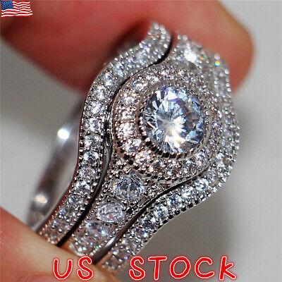 3pcs/set Women Lady Fashion Rings Set Silver White Sapphire Wedding Band Jewelry - Ladies Bridal Rings Set