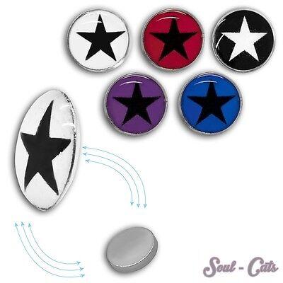 2 St. Magnet Fake Plug mit Stern Kinder Expander pink schwarz rot lila blau (Schwarz Mit 2)