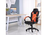 BRAND NEW SPORTS RACING GAMING OFFICE COMPUTER LEATHER CHAIR BLACK & ORANGE