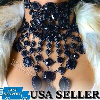 Black Crystal Gem Bib Necklace Choker Maxi Statement Collar Charcoal Big Stones Crystal Bib Statement Necklace