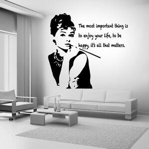 Audrey Hepburn Quote Celebrity Vinyl Wall Stickers Art Room Removable  Decals DIY