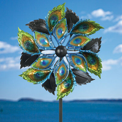 Peacock Feather Wind Spinner - Decorative Kinetic Wind Mill - Outdoor Lawn -