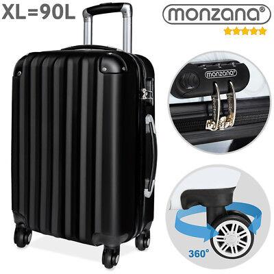Monzana® Hartschalen Koffer Trolley 4 Rollen Reisekoffer Gepäck Schloss Schwarz