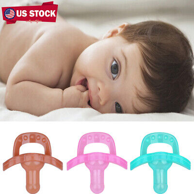 Infant Newborn Baby Orthodontic Dummy Soother Holder Silicone Pacifier Nipple US