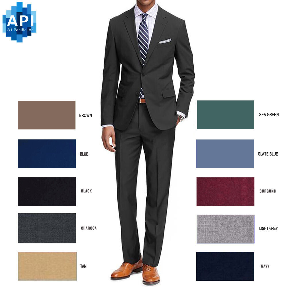 Men's Formal classic Fit 2 piece Suit two button solid col