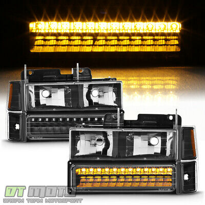 Black 1994-1999 Chevy Silverado C10 Tahoe Suburban Headlights+LED Bumper+Corner