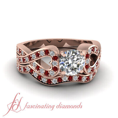 Round Brilliant Cut Diamond Engagement Rings And Band For Wo