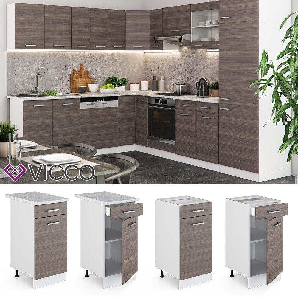 VICCO Küchenschrank Hängeschrank Unterschrank Küchenzeile R-Line Schubunterschrank 40 cm edelgrau