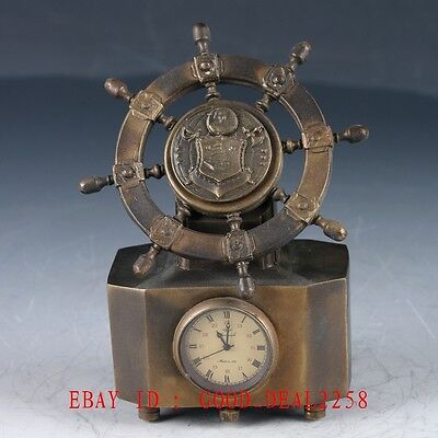 Old Chinese Brass Hand  Made  Mechanical Globe Clock   ZJ28