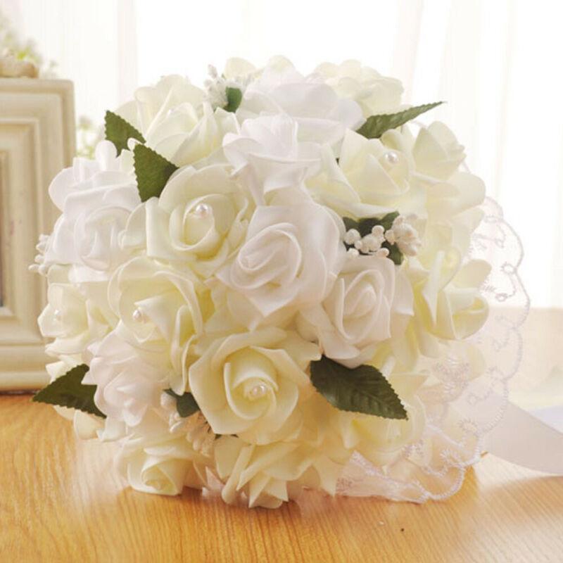 XLKJ Beautiful Wedding Bridal Bridesmaid Bouquet Artificial Flower Rose White Bridal Bouquets Decor