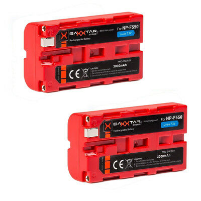 2x BAXXTAR Pro Energy Akku für Sony F Serie NP-F550 (echte 3000mAh) - Pro Series Akku