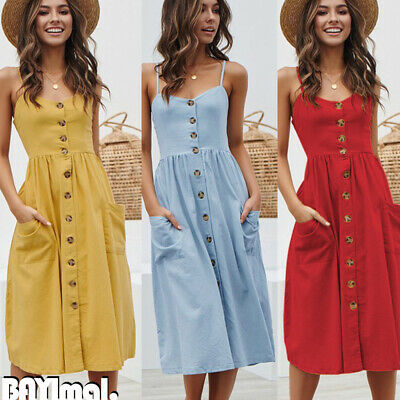 Womens Strappy Buttons Midi Tea Dress Ladies Summer Beach Party Pockets Sundress