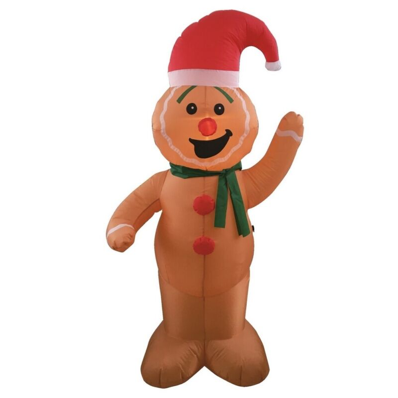 Homegear Christmas 6ft Inflatable Gingerbread Man Indoor/Outdoor Use LED Lights