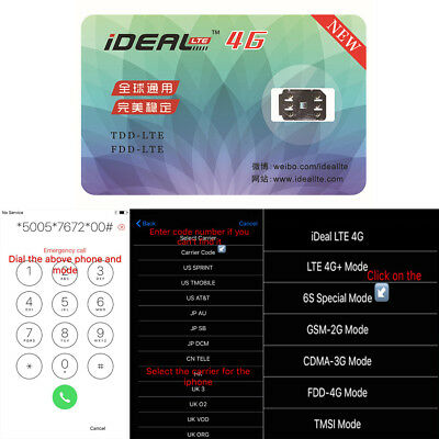 1X Deal Turbo Unlock Sim Unlocking Card Gpp Lte 4G For Iphone 5 6 6S 7 8 All Ios