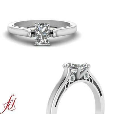 Bezel Set 0.60 Ct Radiant Very Good Cut SI2 Diamond Engagement Ring 14K Gold GIA