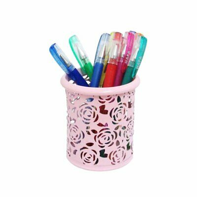 Ms007- Pink Floral Design Pencil Cup Supplies Holder- Round Metal Desk Organizer