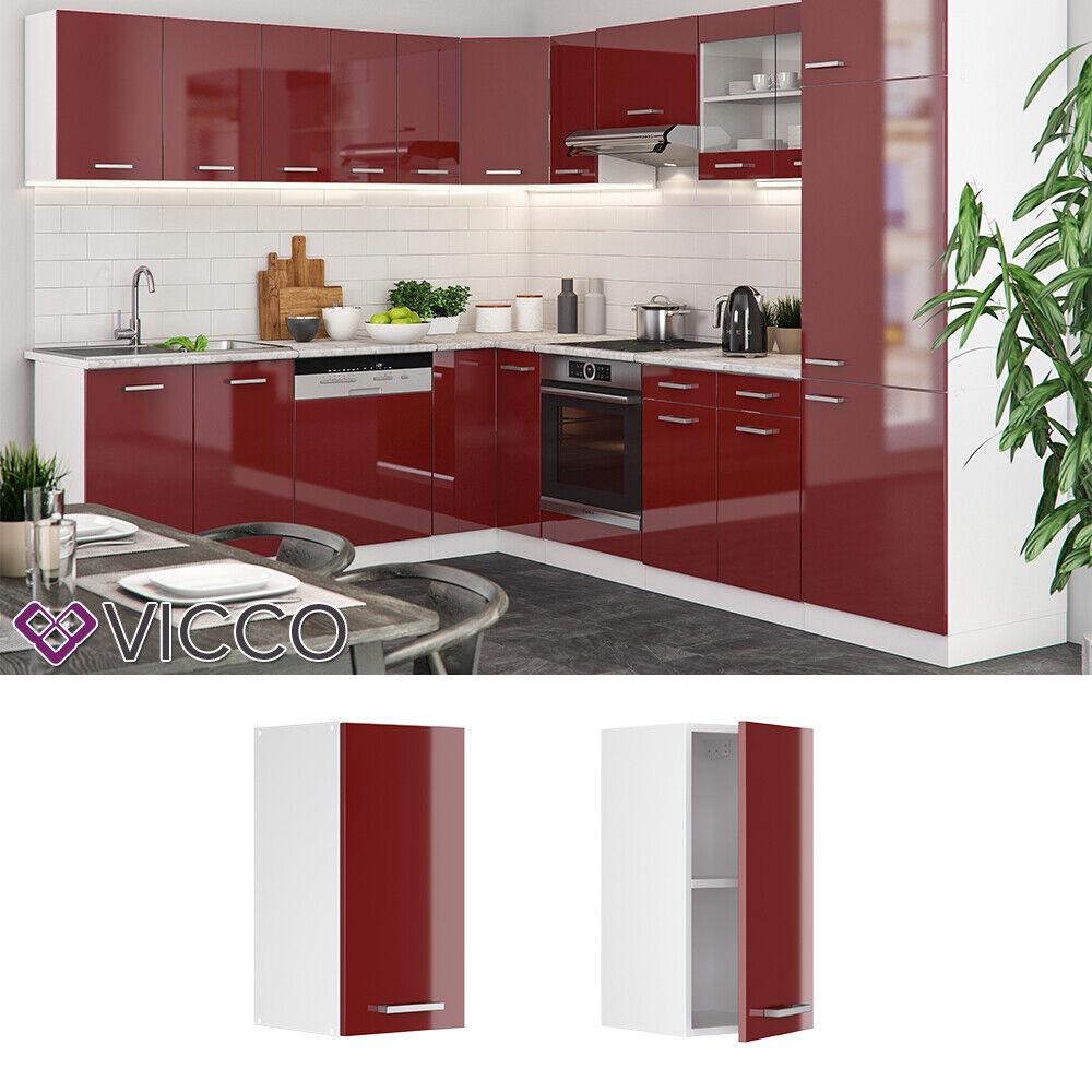 VICCO Küchenschrank Hängeschrank Unterschrank Küchenzeile R-Line Hängeschrank 30 cm rot