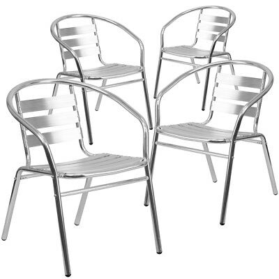 4 Pk. Aluminum Commercial Indoor-outdoor Restaurant Stack Chair With Triple...