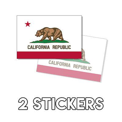 State Flag Bumper Sticker - California State Flag Sticker - Decal Bumper Cali Bear Californian 2 Pack 3x5in