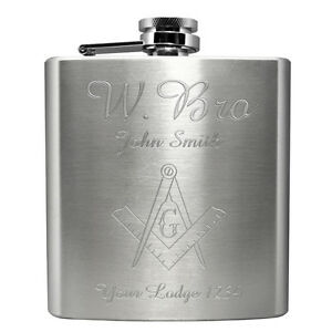 Masonic-W-Bro-Engraved-Hip-Flask-6oz-Square-Compass-Personalised-Gift-Present
