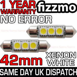 2x-42mm-NUMBER-PLATE-INTERIOR-6000k-BRIGHT-WHITE-3-SMD-LED-C5W-264-FESTOON-BULB