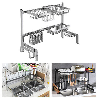Kitchen Sink Drain Rack Shelf StainlessSteel Dish Cutlery Drainer Holder Storage