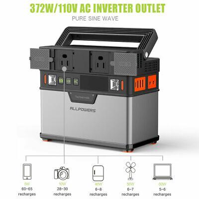 Portable Emergency Storage Battery Generator 100500mAh Peak 372Wh Solar