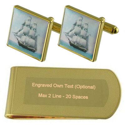 Royal Navy Warship Gold-Tone Cufflinks Money Clip Engraved Gift Set ()