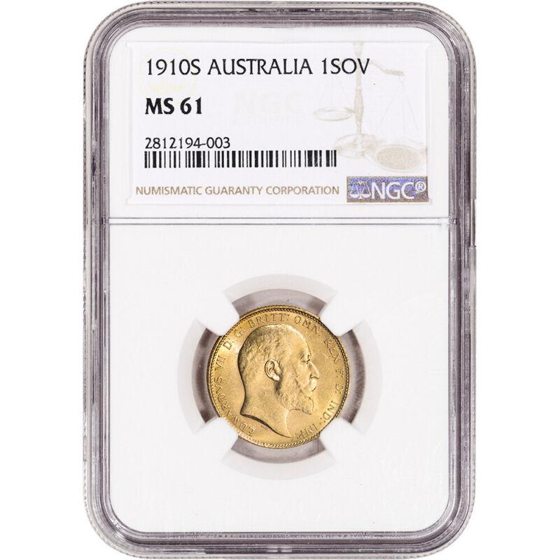 1910 S Australia Gold Sovereign - NGC MS61