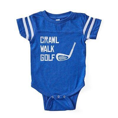 CafePress Crawl Walk Golf Baby Football Bodysuit
