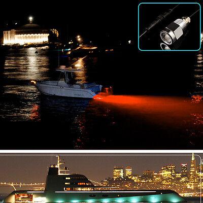"Red 6 LED 1/2"" NPT 9W Underwater Boat Drain Plug Light w/ Waterproof Connector"