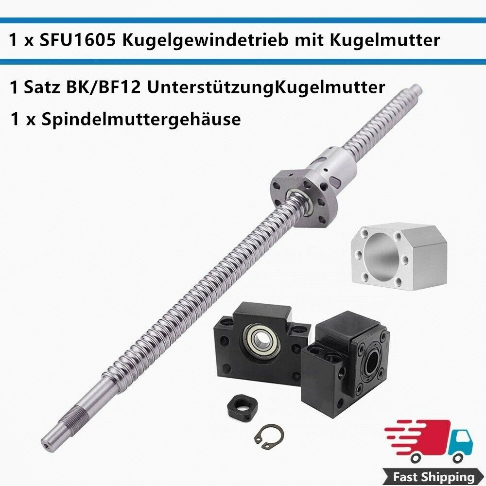 CNC Ballscrew SFU1605 550mm BK12 BF12 and Nut Housing RM1605 Ball Screw