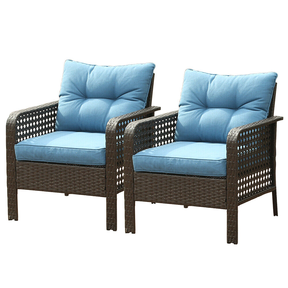 Garden Furniture - 2PC Patio Rattan Sofa Set Wicker Garden Furniture Outdoor Sectional Couch Blue