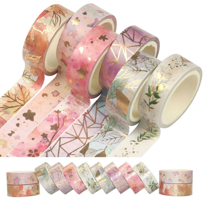6X  Flower Foil Washi Tape Adhesive Scrapbooking Photo Album Card Paper Gift DIY