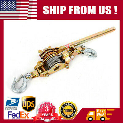 4400lb 2 Ton Cable Ratchetin Lever Hoist Hand Puller Come Along 2 Hook Hd Cable