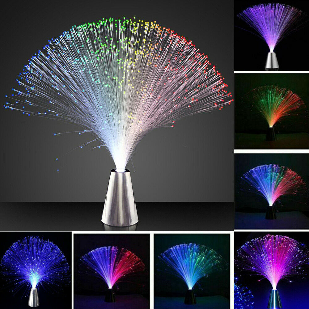 5x Glasfaser Lampe LED RGB mit Farbwechsel Lichtfaser Dekoleuchte Fiberglas bunt