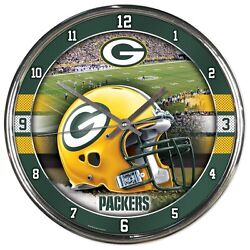 *New* NFL Green Bay Packers Wall Clock Round Chrome 12 Men's Best Gift